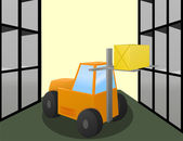 Forklift loader works in warehouse — Stock Vector
