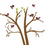 Little birds chirp on spring tree — Stock Vector