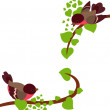 Robin birds on spring branches of tree — Stock Vector