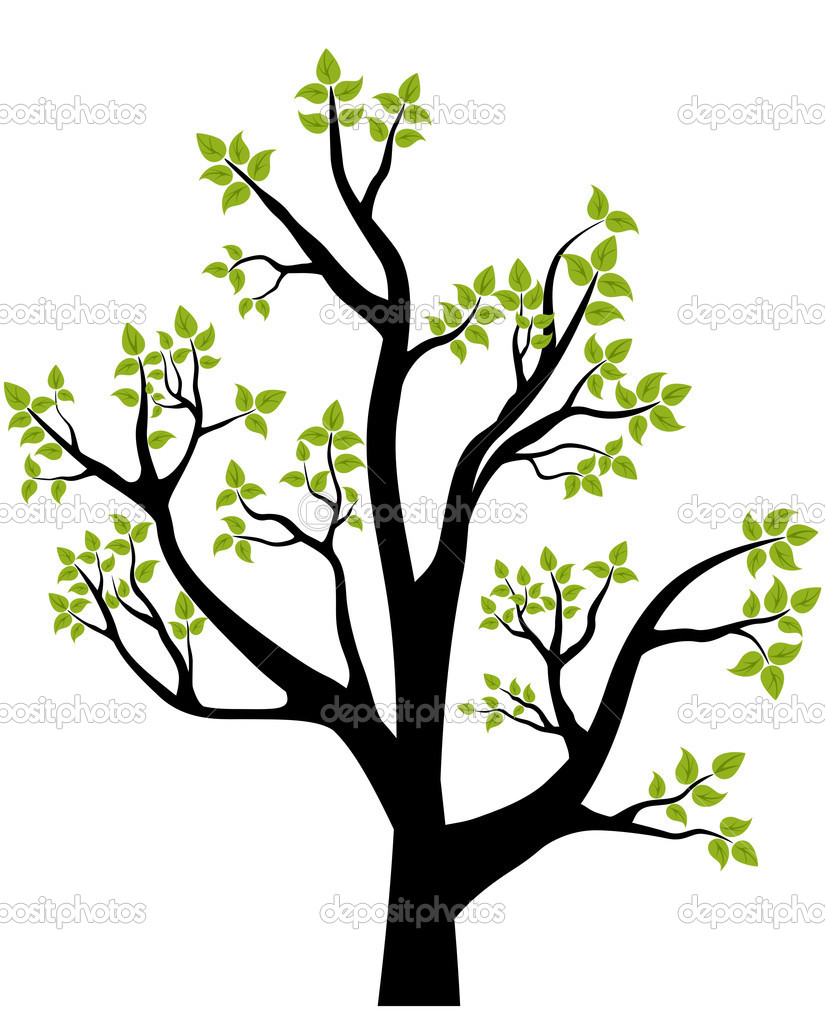 Spring Tree, vector illustration, element for design, card or emblem — Stock Vector #2243077