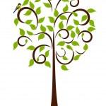 wiosną drzewa z ptaków — Wektor stockowy