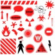 Set of Icons of Danger — Stock Vector