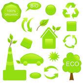 Ställ in eco och bio genomförande — Stockvektor