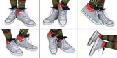 Sneakers and striped socks — Stock Photo