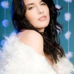 Portrait of beautiful woman wearing fur — Stock Photo