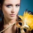 Woman with carnival  mask - Stock Photo