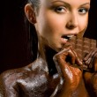 Chocoate woman — Stock Photo