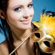 Stockfoto: Womwith carnival mask