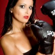 Sexy boxing woman — Stock Photo