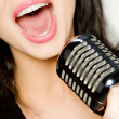 Smiling singer — Stock Photo
