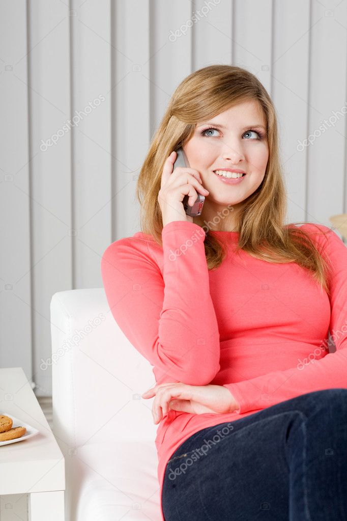 Woman talking by phone — Stock Photo #2254489
