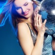 Woman with disco ball — Stock Photo #2373639