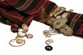 Group of ancient jewel and coins — Stock Photo