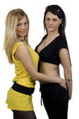 Two girls in youth clothes — Stock Photo