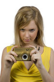 The girl with the gold camera — Stock Photo