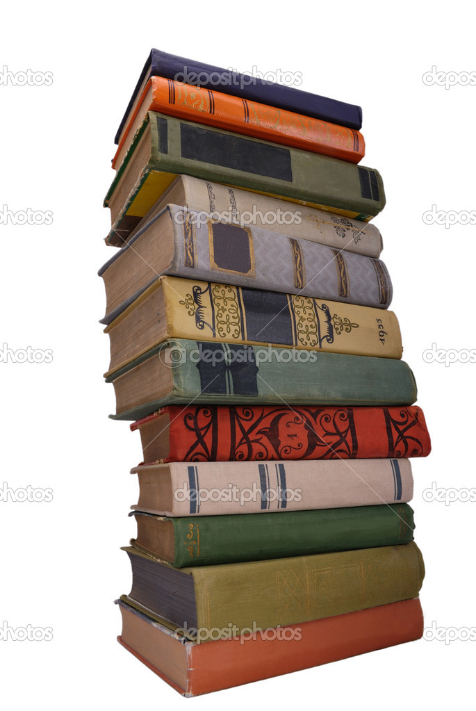 Stack of ccolor old books isolated 1 — Stock Photo #1628918