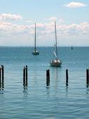Yacht near of the seaside — Stock Photo