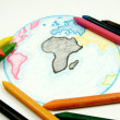 Drawing Earth with chalks — Stock Photo