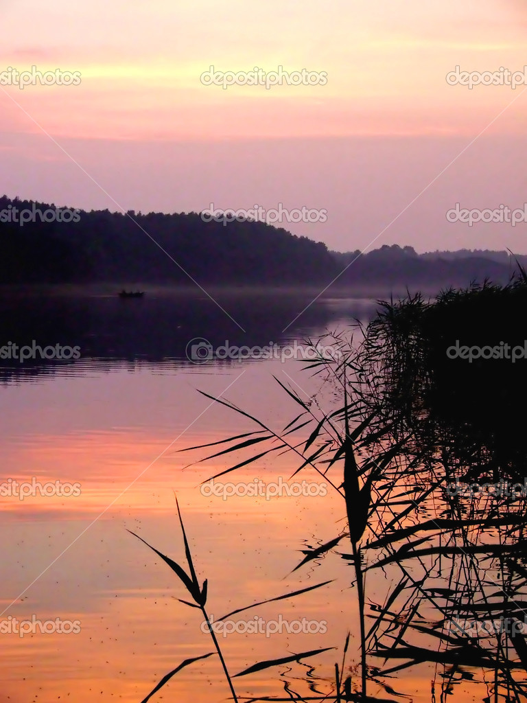Sunset at the lake summer in Poland — Stock Photo #1751670