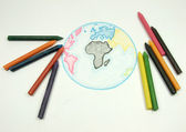 Tekening aarde wereldbol met krijtjes — Stockfoto