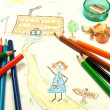 Kid's drawing - Stock Photo