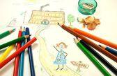 Kid's drawing — Foto de Stock