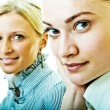 Portrait of two women in office close-up — Stock Photo
