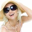 Young woman with hat and sunglasses — Stock Photo