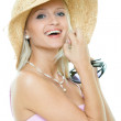 Young woman with hat and sunglasses — Stock Photo #1665668