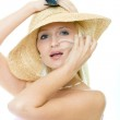 Young woman with hat and sunglasses — Stock Photo #1665745