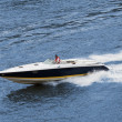 Speedboat cruising in the river. Fast drive — Stock Photo #1726506