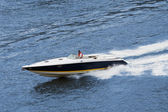 Speedboat cruising in the river. Fast drive — Stock Photo