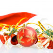 Stock Photo: Red Christmas balls and hand bells