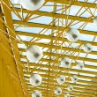 Glass and yellow metal construction 2 — Stock Photo