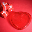 Red heart and gift boxes — Stock Photo
