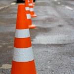 Orange safety cones — Stock Photo
