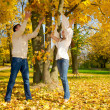 Young couple throwing autumn leaves — Stock Photo