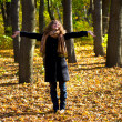 Young beautiful woman in the autumn park — Foto de Stock