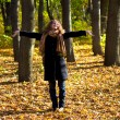 Young beautiful woman in the autumn park — Stockfoto