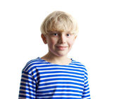 Young adorable fair-haired boy in the fr — Stock Photo