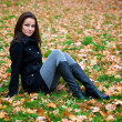 Beautiful young woman in a autumn park — Foto de Stock