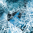 Broken car windshield. Tint blue - Stock Photo