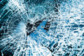 Broken car windshield. Tint blue — Stock Photo