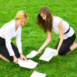 Foto Stock: Two business women gather around on grass pa