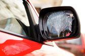 Cracked rear-view mirror — Stock Photo