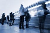 Subway. Underground station, motion blur — Stock Photo