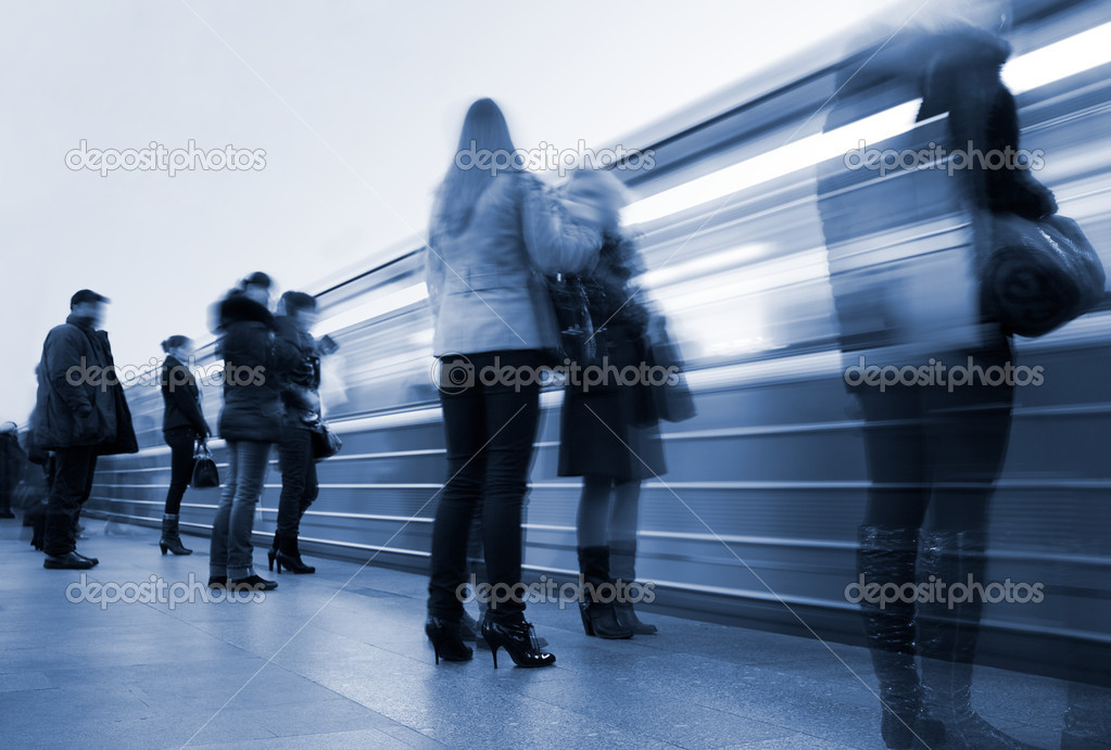 Subway. Underground station, motion blur. Tint blue — Stock Photo #1998309