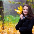 Beautiful young woman with a yellow leaf — Stock Photo #2002820