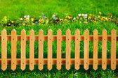 Wooden garden fence — Stock Photo
