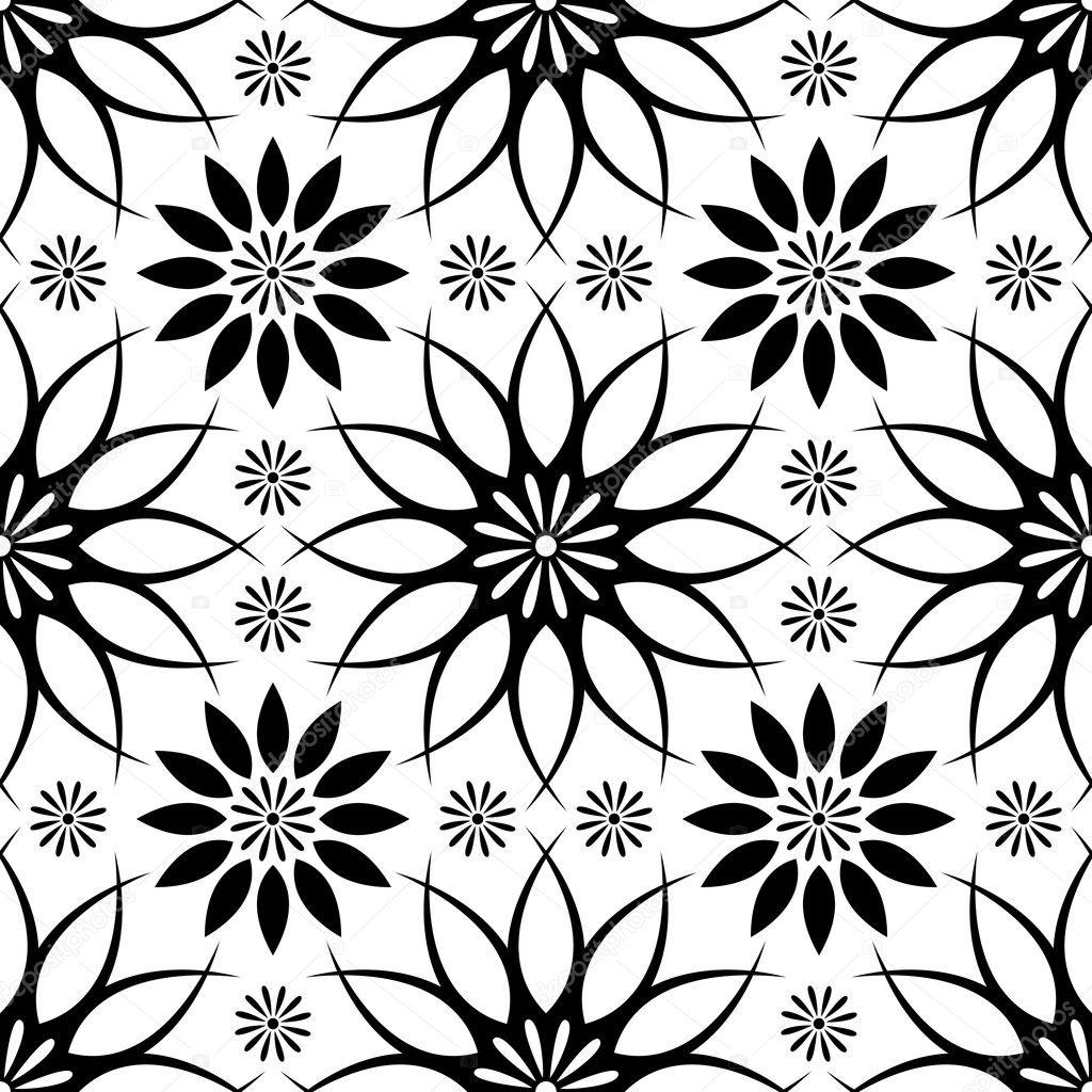 黑白色抽象无缝模式